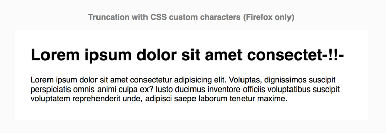 Only Firefox has support for text-overflow with custom characters